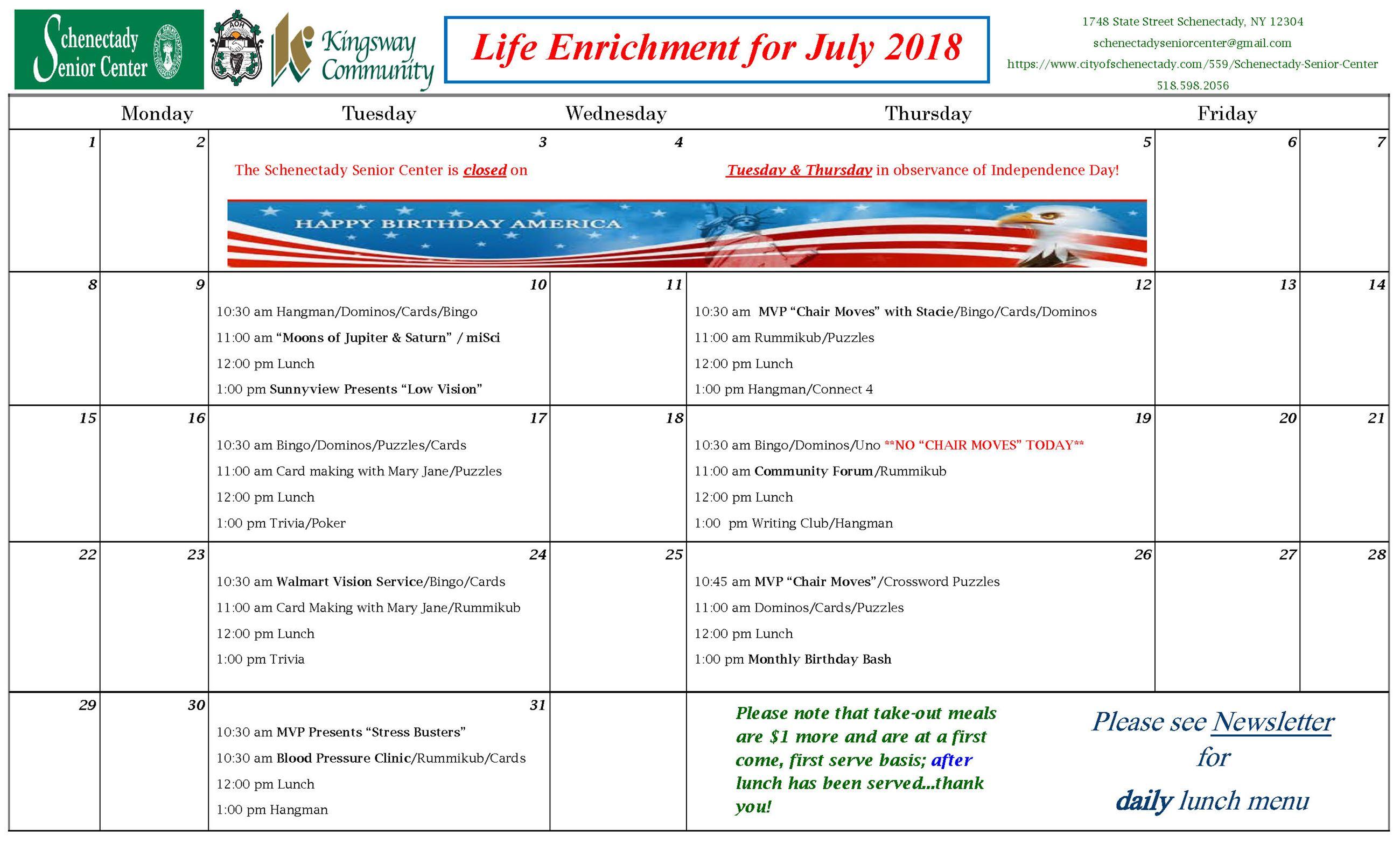 calendars schenectady ny